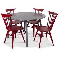 Rosvik matgrupp runt grått matbord med 4 st Thor pinnstolar- Grått / Rött