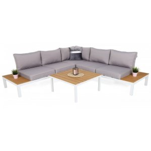 Loungesoffa Belair med bord - Vit/Grå