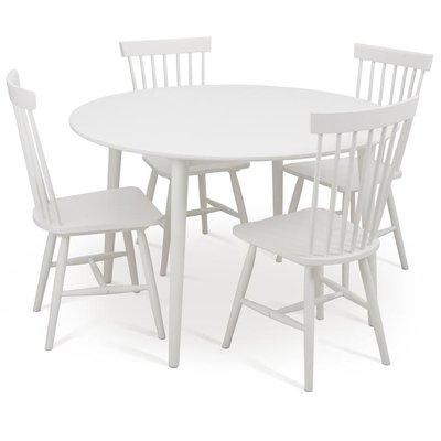 Rosvik matgrupp runt vitt matbord med 4 st Asta pinnstolar- Vit