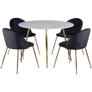 Deco matgrupp 110 cm runt bord + 4 st Art stolar svart sammet / Mässing