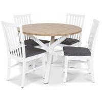 Skagen matgrupp - Runt bord inklusive 4 st Herrgård Alice stolar med grå sits - Vit/Ekbets