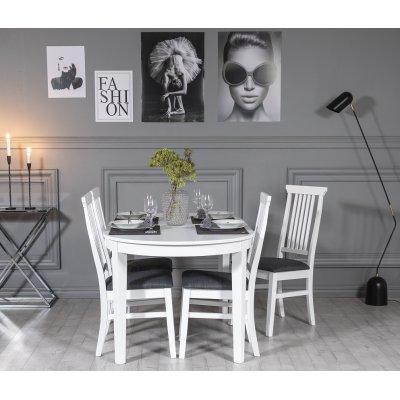 Gåsö matgrupp: Ovalt bord 160/210 cm inklusive 4 Måsö stolar - Vit/Grå