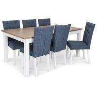 Skagen matgrupp - 180 cm Bord inklusive 6 st Crocket stolar i blå klädsel - Vit/Ekbets