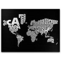 Canvastavla Världskarta Svart