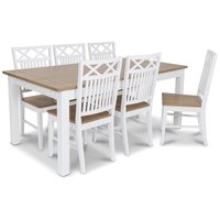 Skagen matgrupp - 180 cm Bord inklusive 6 st Herrgård Gripsholm stolar med ekbetsad sits - Vit/Ekbets
