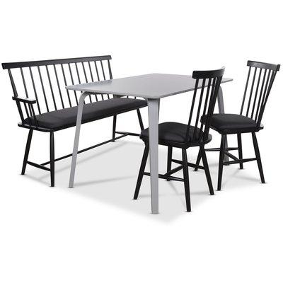 Visby matgrupp - Grå bord med 2 st Småland pinnstolar och 1 st Småland pinnsoffa - Grå / Svart