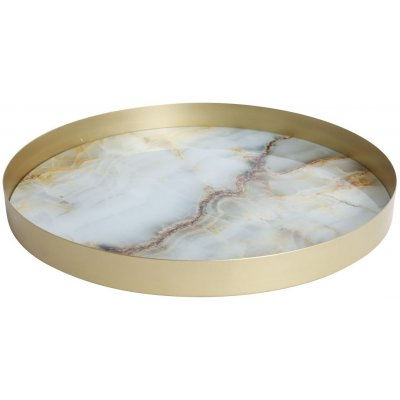 Marmor rund serveringsbricka - Ljus marmor