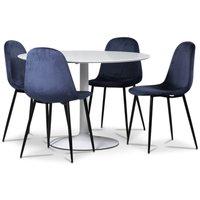 Seat matgrupp, runt matbord med 4 st Carisma sammetsstolar - Vit/Blå