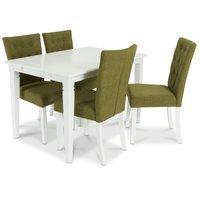 Sandhamn matgrupp 120 cm bord med 4 Crocket stolar i Grönt tyg