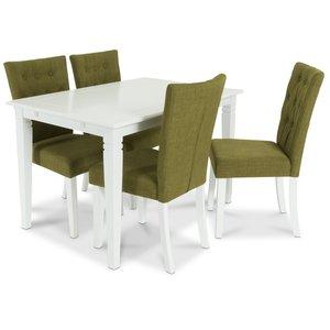 Sandhamn matgrupp 140 cm bord med 4 Crocket stolar i Grönt tyg