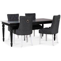 Paris matgrupp svart bord med 4 st Tuva stolar i grått tyg med rygghandtag