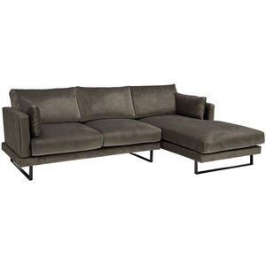 Florance soffa med divan till höger - Grå sammet