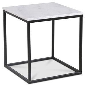 Accent soffbord 50 - Vit marmor / Svart