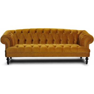 Oxford deluxe 3-sits chesterfield - Lejongul (sammet)