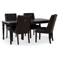 Paris matgrupp svart bord med 4 st Windsor stolar i brunt PU med rygghandtag