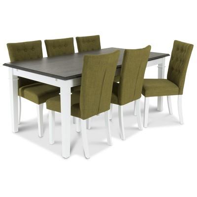 Ramnäs Matgrupp 180 cm med 6 st Crocket stolar med Grönt tyg