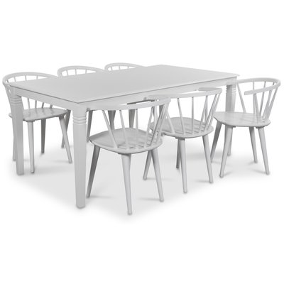 Mellby matgrupp 180 cm bord med 6 st vita Fredrik Pinnstolar med karm