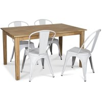 Österlen matgrupp, Klassiskt 140 cm matbord i ek med 4 st vita metallstolar