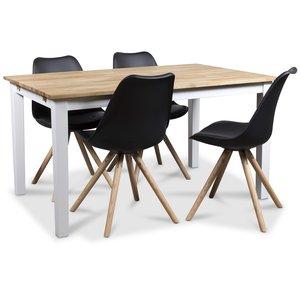 Twister matgrupp, matbord Österlen 140 cm vit/ek med 4 st svarta Twist matstolar