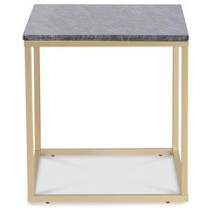 Accent soffbord 50 - Grå marmor / Matt mässing