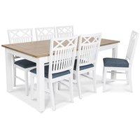 Skagen matgrupp - 180 cm Bord inklusive 6 st Herrgård Gripsholm stolar med blå sits - Vit/Ekbets