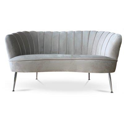 Snäckan 2-sits soffa - Gråbeige sammet / Krom