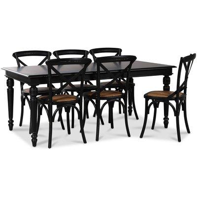 Paris matgrupp 180 cm bord svart + 6 st svarta Gaston matstolar