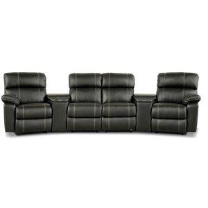 Leo biosoffa med 4-sits recliner och hållare - Svart skinn