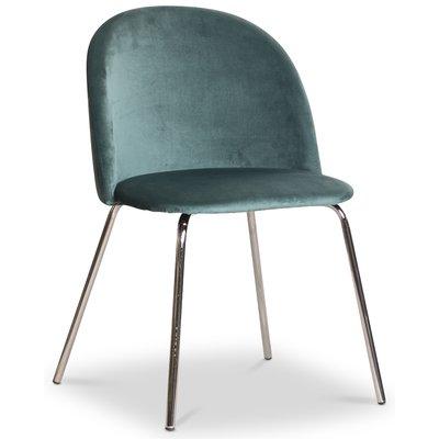 Giovani velvet stol - Petrolblå/Krom
