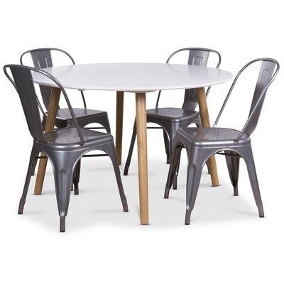 Rosvik matgrupp, Runt matbord med 4 st Industry plåtstolar - Vit/Metall