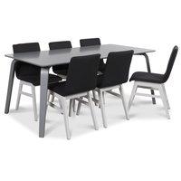 Visby matgrupp, 180 cm grått bord med 6 st Molly matstolar i mörkgrått tyg med vita ben