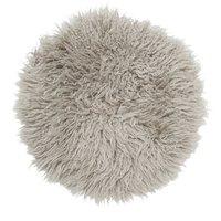 Frizzy rund stolsdyna - Mörkbeige fårskinn