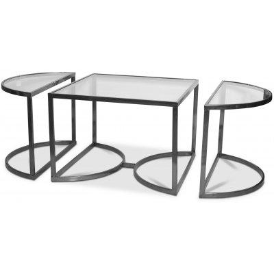 Prins deluxe soffbord 3-delar - Silver/Glas