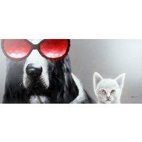 Tavla oljemålning - Hund & Katt