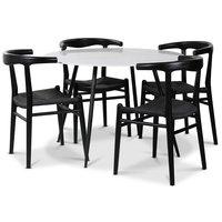 Berit matgrupp, 110 cm runt bord + 4 st svarta Berit stolar