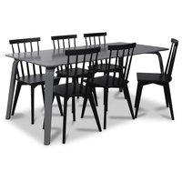 Visby matgrupp, 180 cm grått bord med 6 st svarta Linköping Pinnstolar