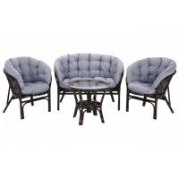 Soffgrupp Bahama + 2 stolar & bord - Brun/grå