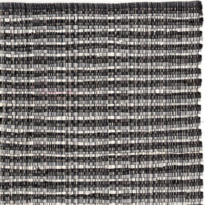 Handgjord matta - Home - Svart/Vit - Handvävd bomull
