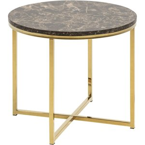 Alisma Hörnbord - Guld/brun marmor