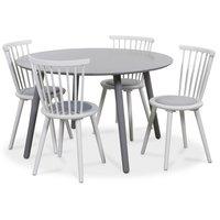 Rosvik matgrupp grått runt bord med 4 st Castor Pinnstolar - Grå / Vit
