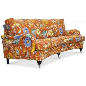Savoy 3-sits svängd soffa med blommigt tyg - Havanna Terracotta