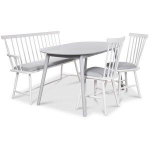 Småland matgrupp - Grått bord med 2 st Småland pinnstolar och 1 st Småland pinnsoffa - Grå / Vit