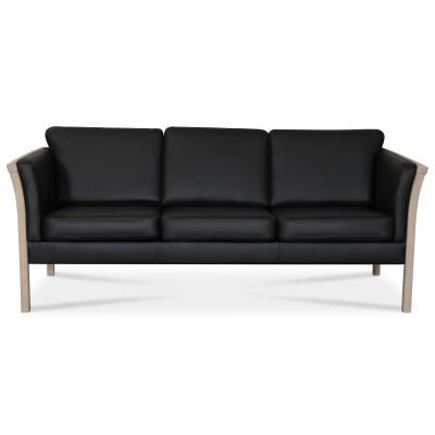 Pure 3-sits lädersoffa - Svart (läder) / Ljust trä