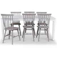 Mellby matgrupp 180 cm bord vit + 6 st gråa pinnstolar
