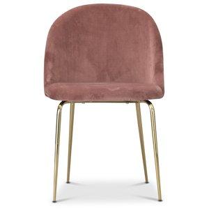 Tiffany velvet stol - Dusty pink/Mässing