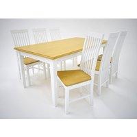 Ramnäs matgrupp - Bord inklusive 6 st Vindö stolar - Vit/ek