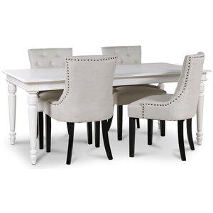 Paris matgrupp vitt bord med 4 st Tuva Eastport stolar i
