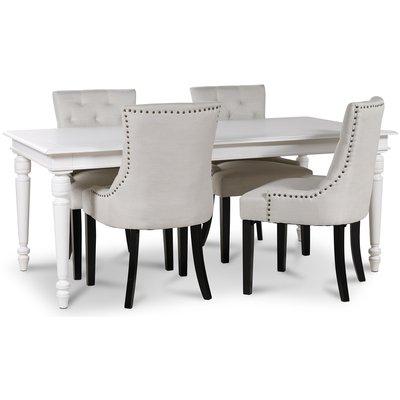 Paris matgrupp vitt bord med 4 st Tuva Eastport stolar i beige tyg
