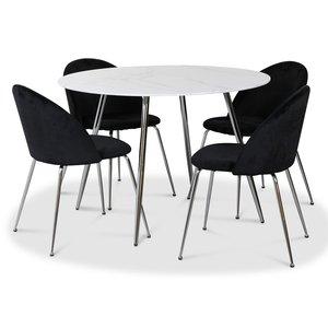Art matgrupp, 110 cm runt bord + 4 st svarta Art stolar