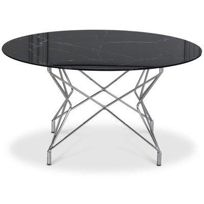 Soffbord Star 90 cm - Svart marmorerat glas / Kromat underrede